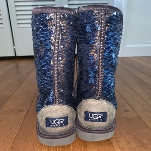 Blue and Silver Glitter Reversible Uggs